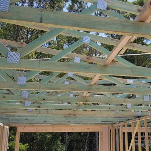 timber roof trusses installed on new home development